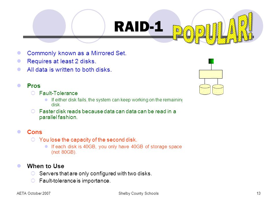 RAID-1 POPULAR! Commonly known as a Mirrored Set.