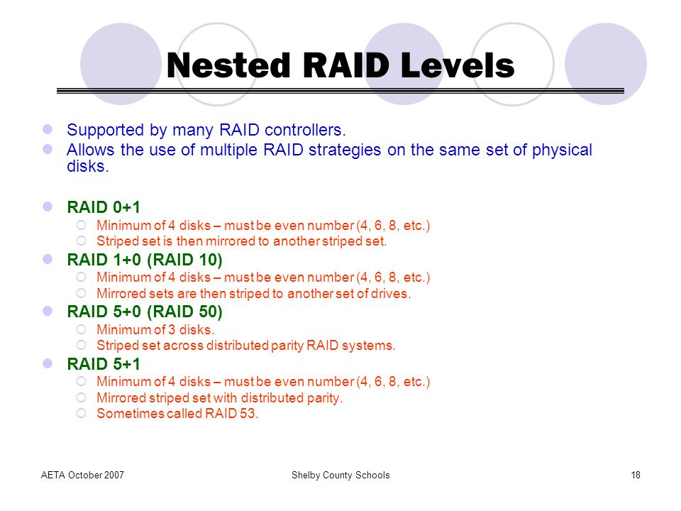 Nested RAID Levels Supported by many RAID controllers.