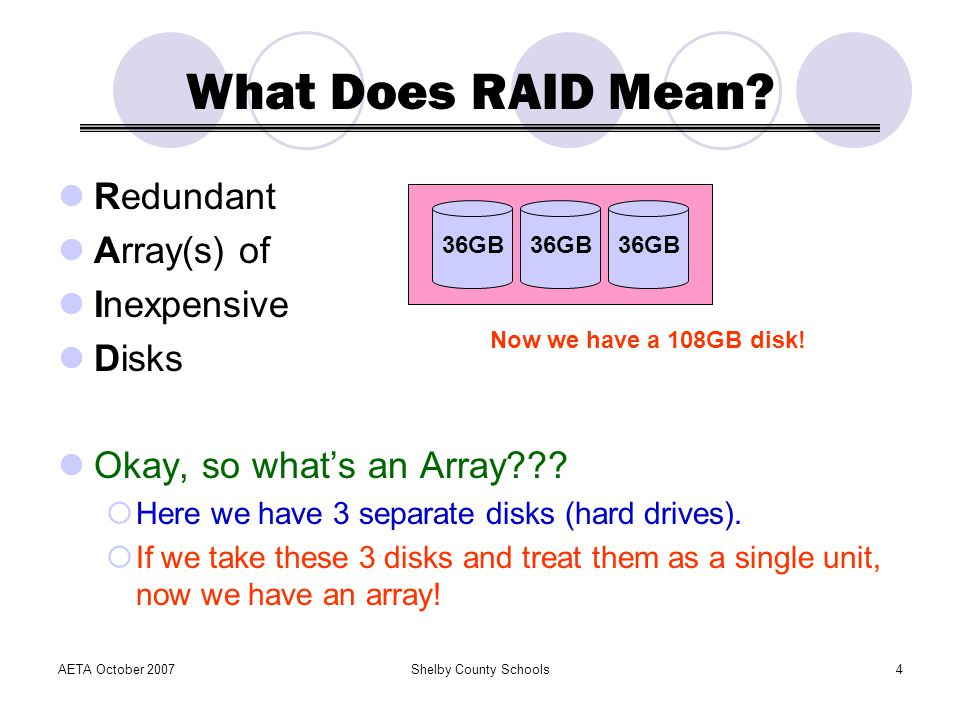 What Does RAID Mean Redundant Array(s) of Inexpensive Disks