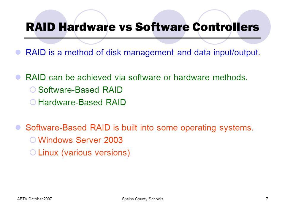RAID Hardware vs Software Controllers