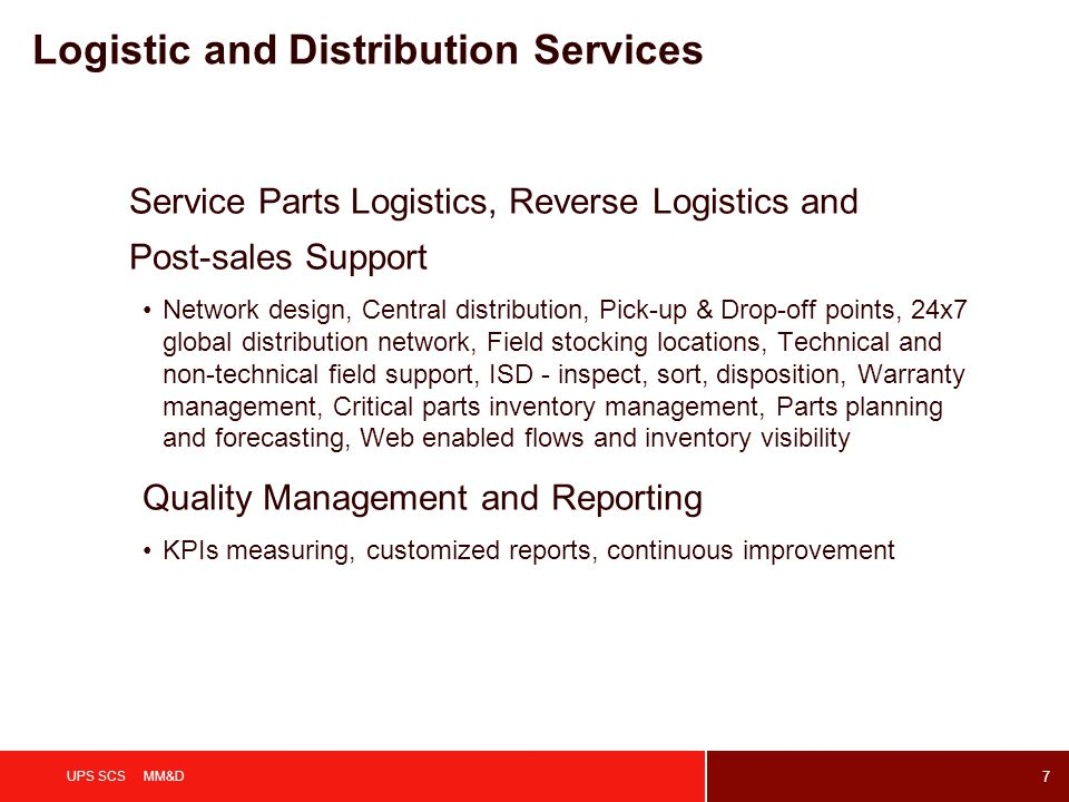 Logistic and Distribution Services