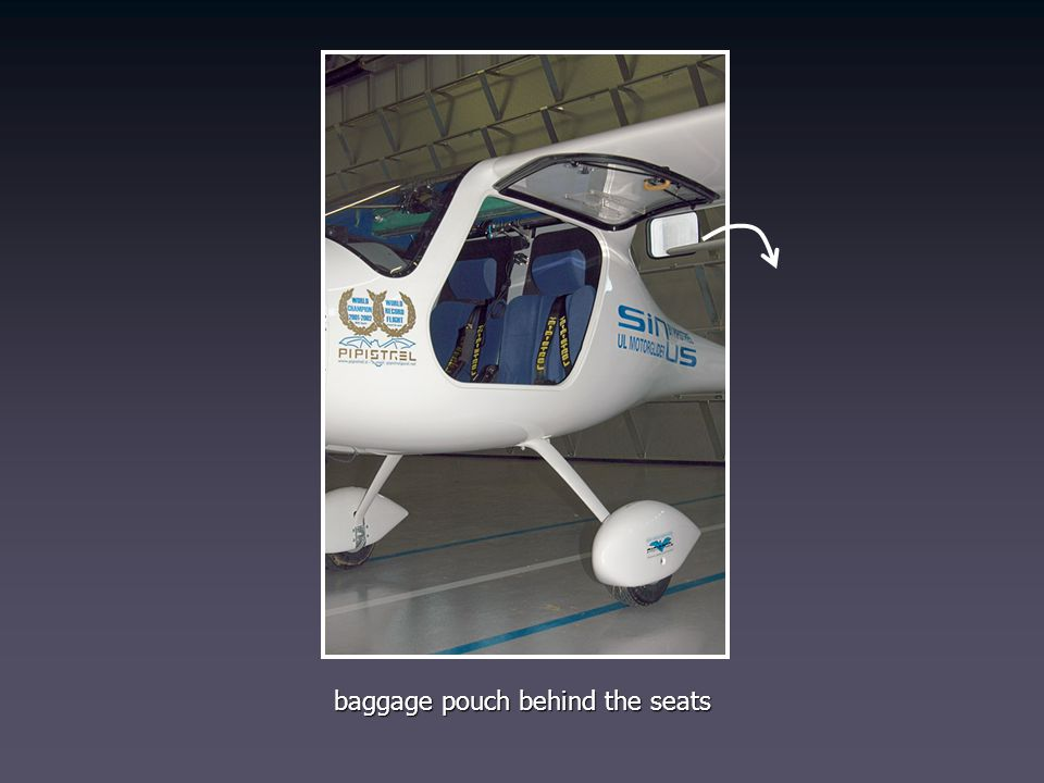 baggage pouch behind the seats