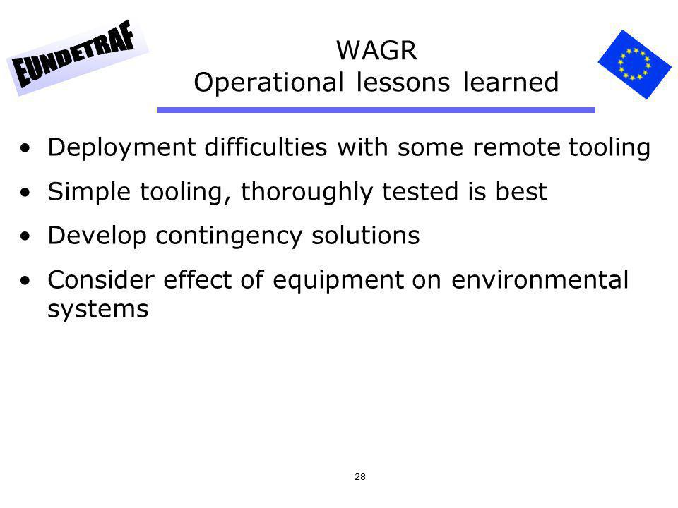 WAGR Operational lessons learned