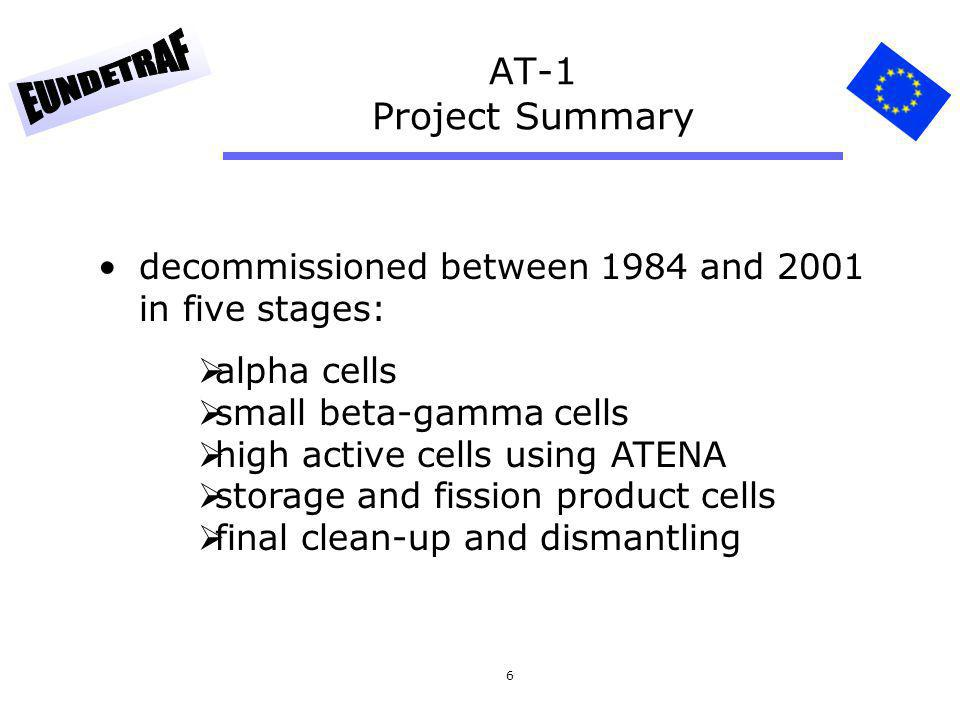 AT-1 Project Summary decommissioned between 1984 and 2001 in five stages: alpha cells. small beta-gamma cells.