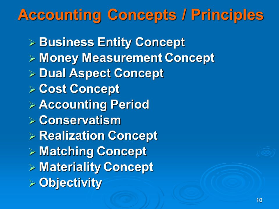 Accounting Concepts / Principles