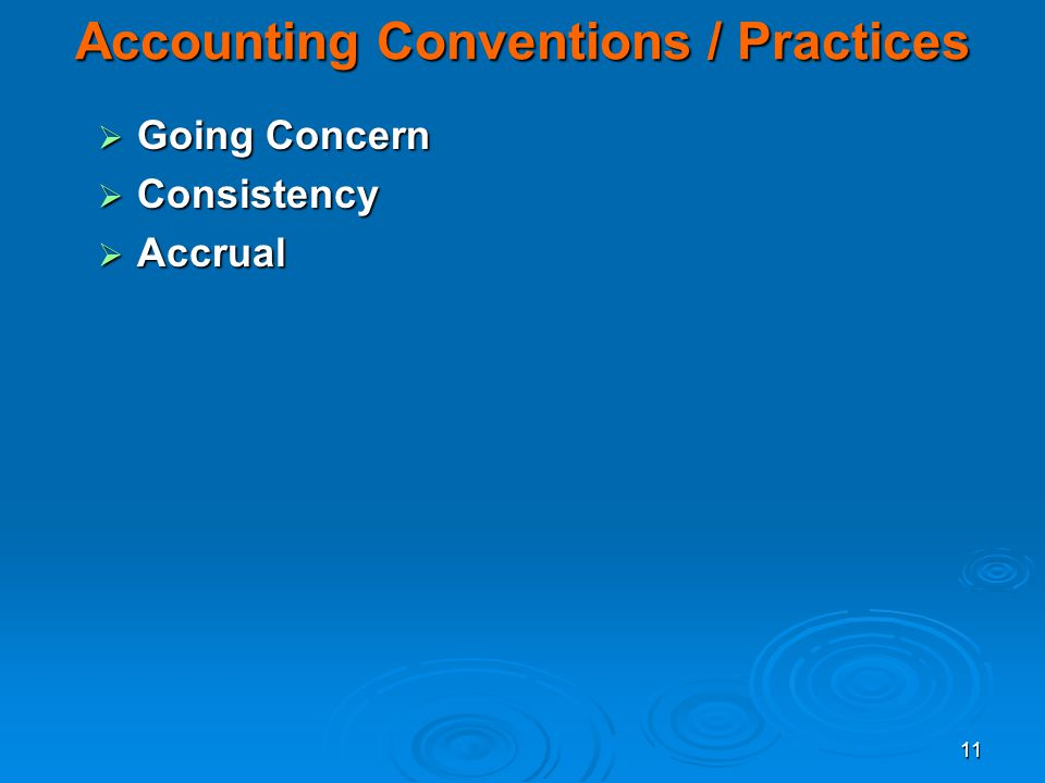 Accounting Conventions / Practices