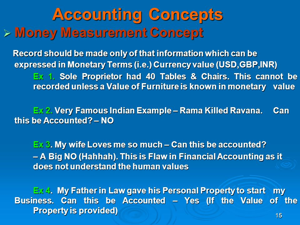 Accounting Concepts Money Measurement Concept