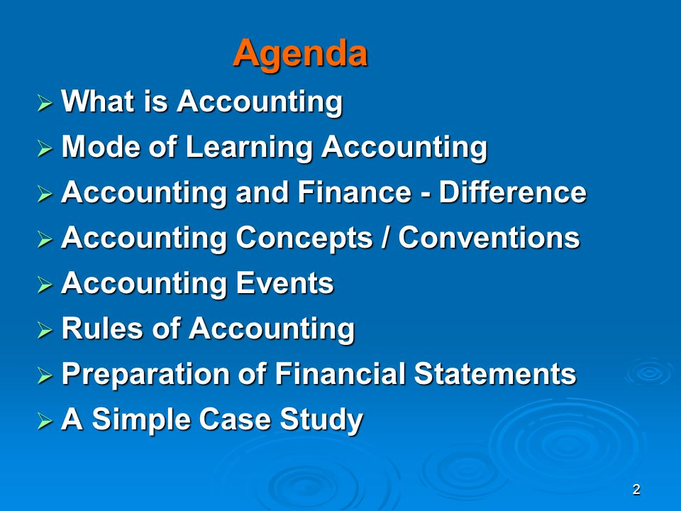 Agenda What is Accounting Mode of Learning Accounting