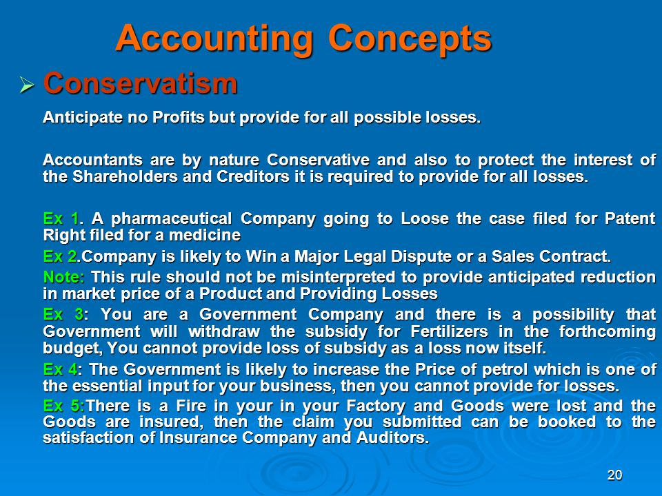 Accounting Concepts Conservatism