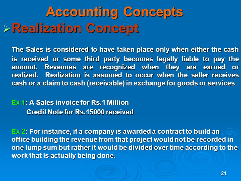 Accounting Concepts Realization Concept
