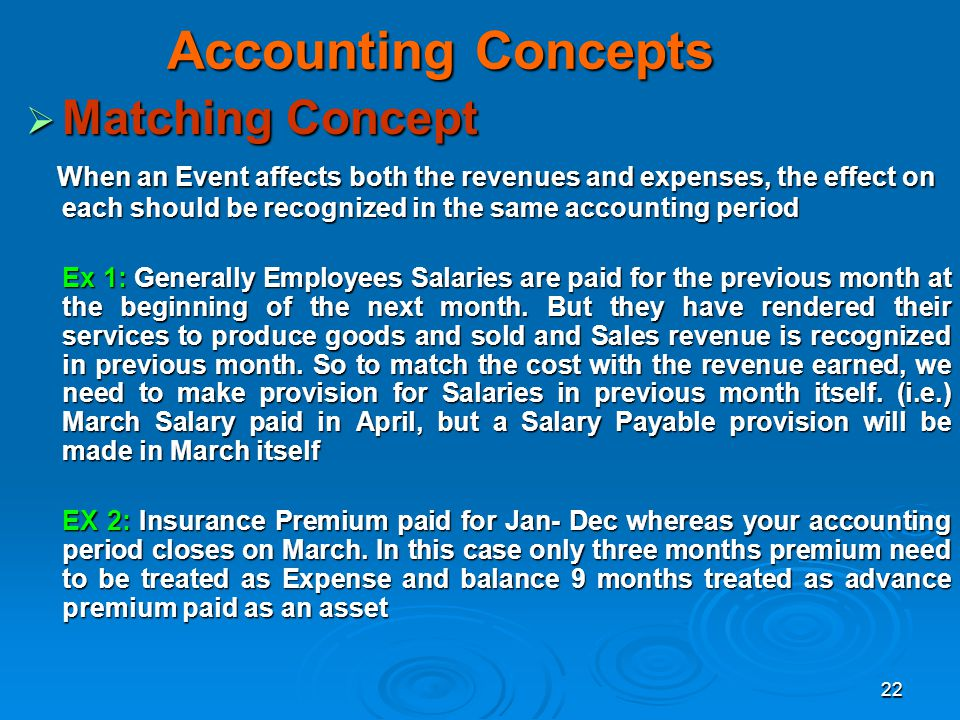 Accounting Concepts Matching Concept