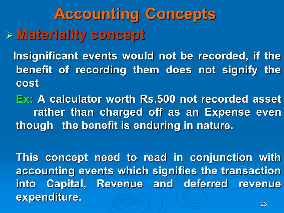 Accounting Concepts Materiality concept