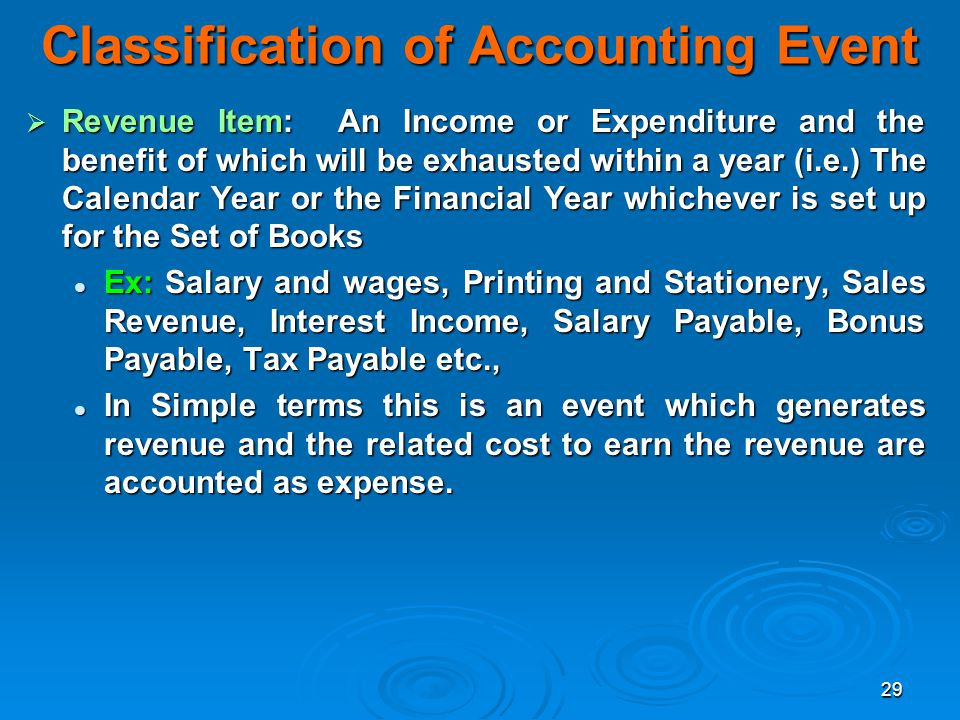 Classification of Accounting Event