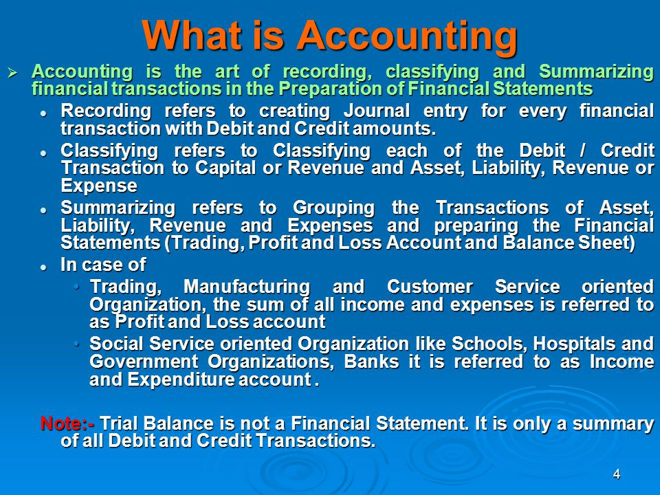 What is Accounting Accounting is the art of recording, classifying and Summarizing financial transactions in the Preparation of Financial Statements.