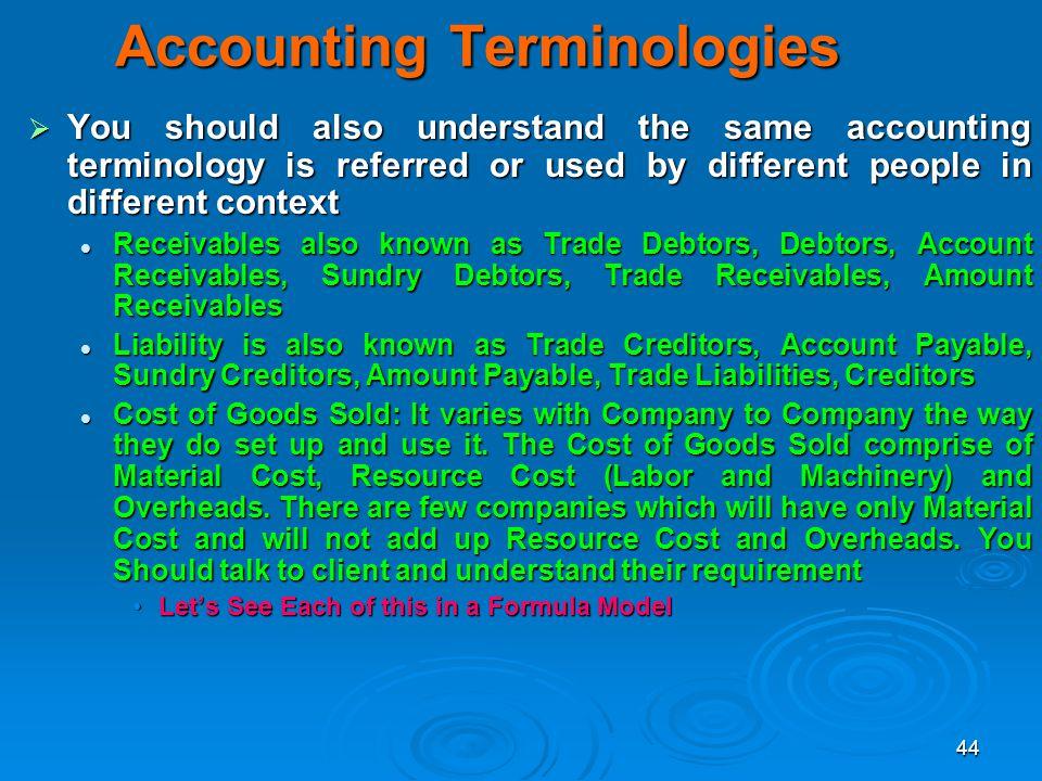 Accounting Terminologies