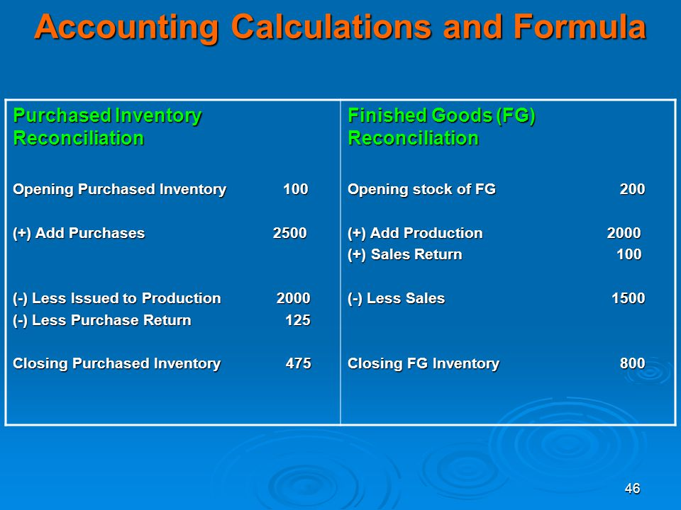 Accounting Calculations and Formula