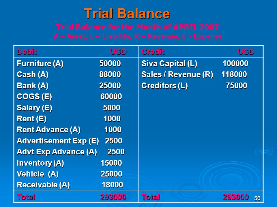 Trial Balance Trial Balance for the Month of APRIL 2007 Debit USD