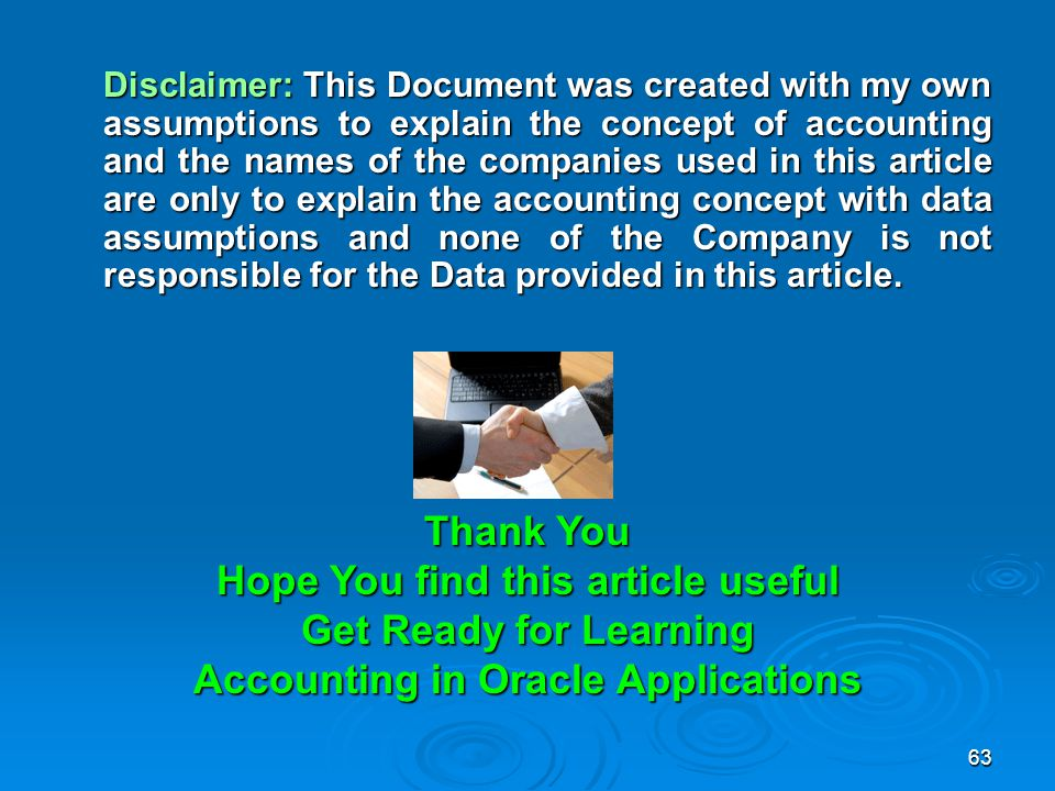 Hope You find this article useful Accounting in Oracle Applications