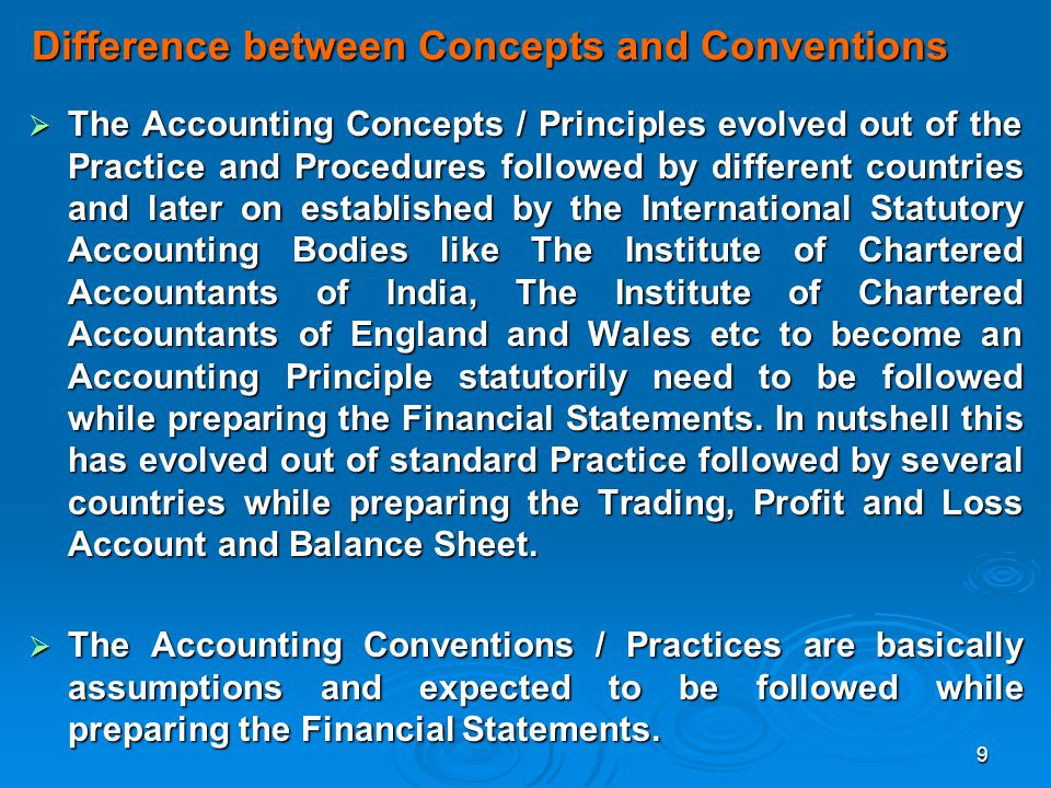 Difference between Concepts and Conventions
