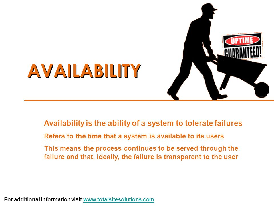 AVAILABILITY Availability is the ability of a system to tolerate failures. Refers to the time that a system is available to its users.