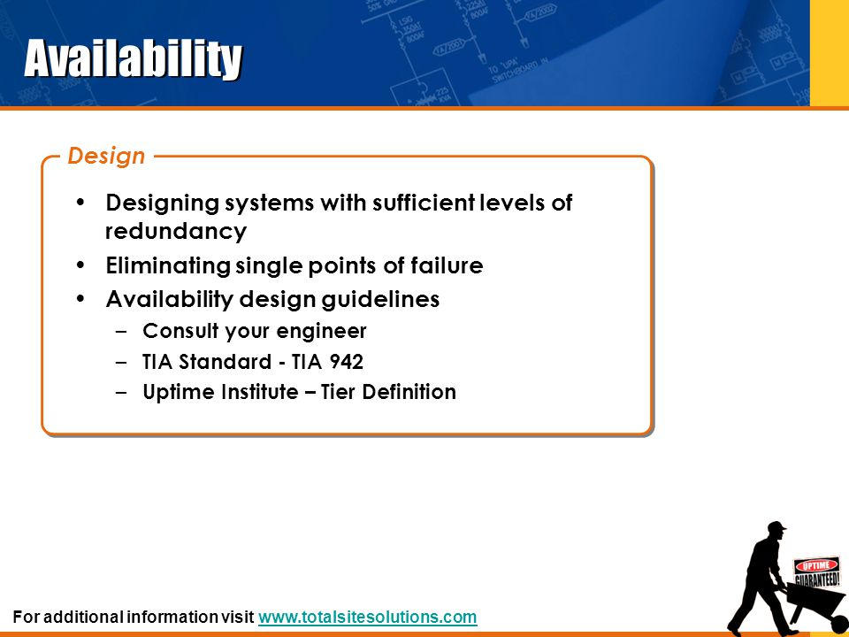 Availability Design. Designing systems with sufficient levels of redundancy. Eliminating single points of failure.