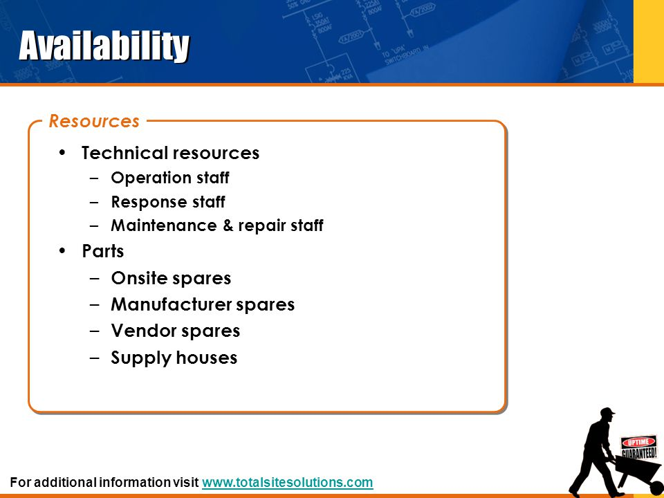 Availability Resources Technical resources Parts Onsite spares