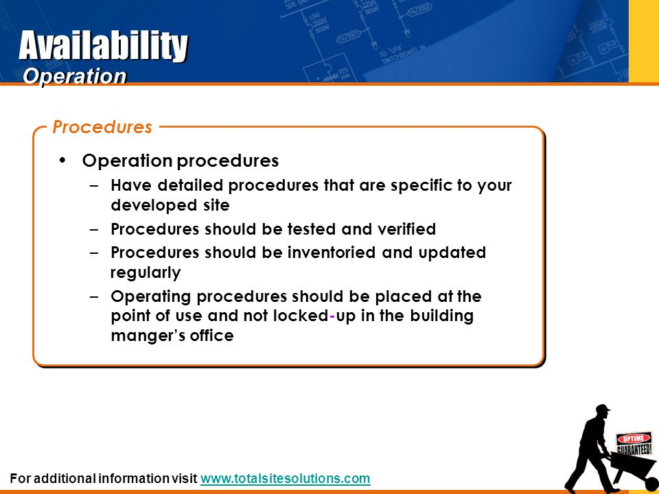 Availability Operation Procedures Operation procedures