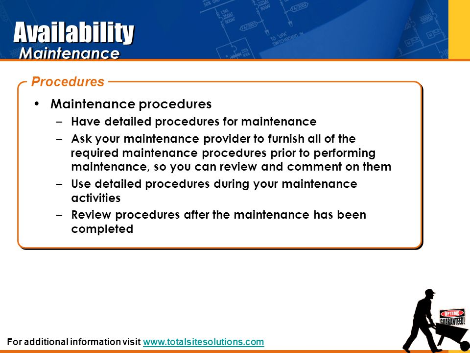 Availability Maintenance Procedures Maintenance procedures