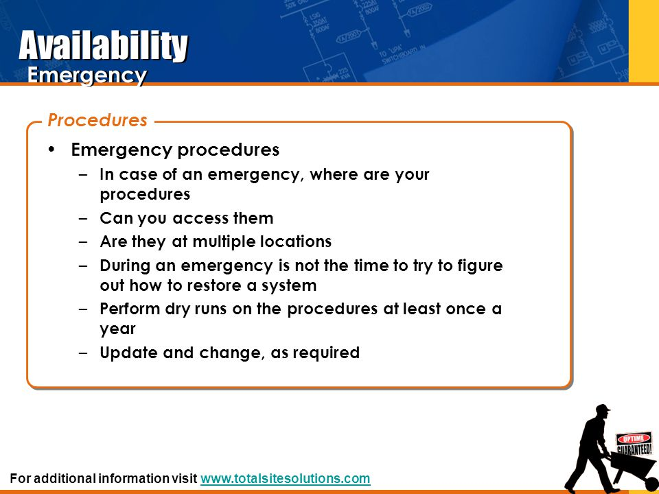 Availability Emergency Procedures Emergency procedures