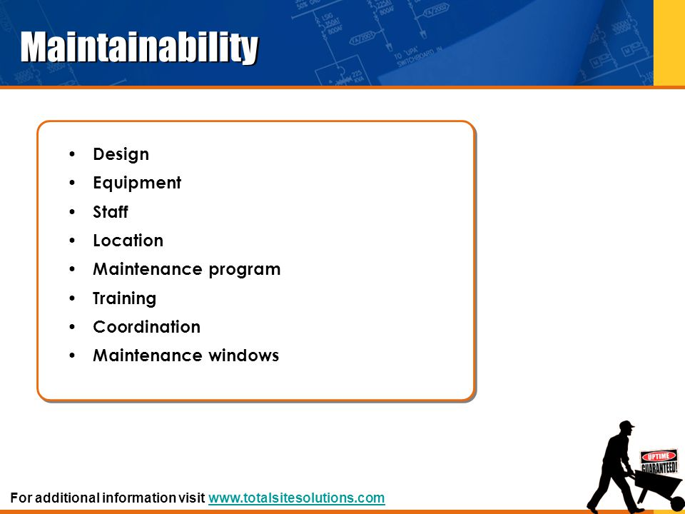 Maintainability Design Equipment Staff Location Maintenance program
