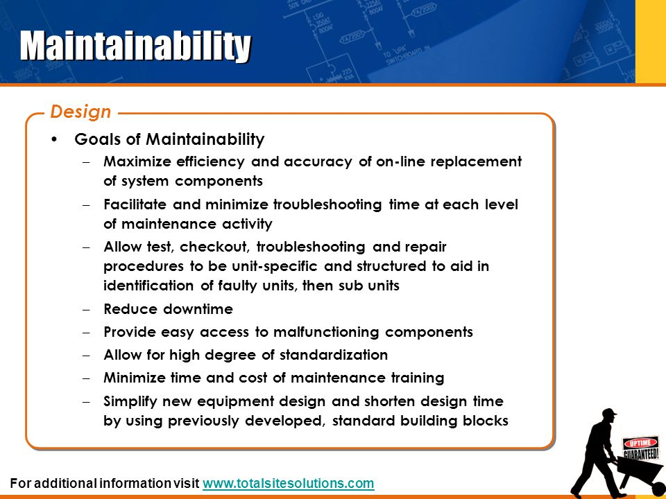 Maintainability Design Goals of Maintainability