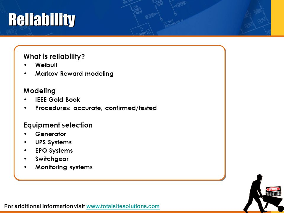 Reliability What is reliability Modeling Equipment selection Weibull