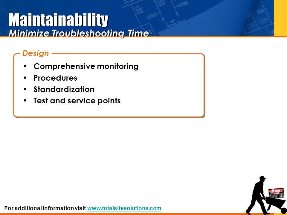Maintainability Minimize Troubleshooting Time Design