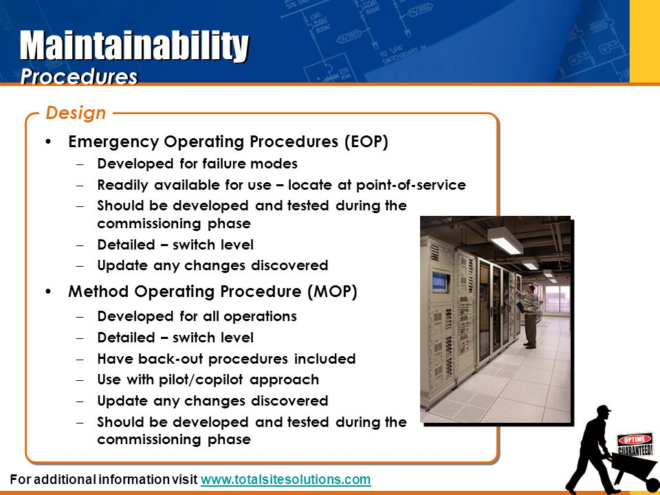 Maintainability Procedures Design Emergency Operating Procedures (EOP)