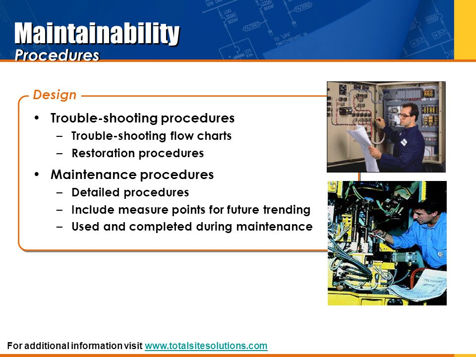 Maintainability Procedures Design Trouble-shooting procedures