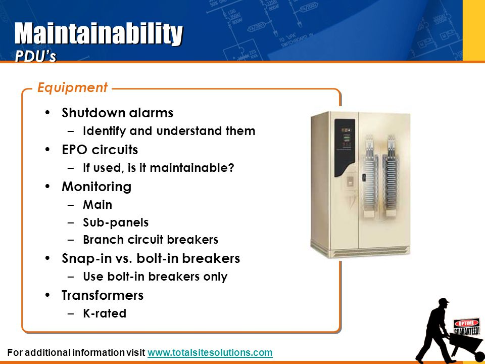 Maintainability PDU's Equipment Shutdown alarms EPO circuits