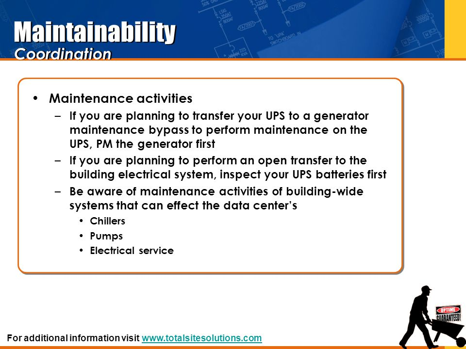 Maintainability Coordination Maintenance activities