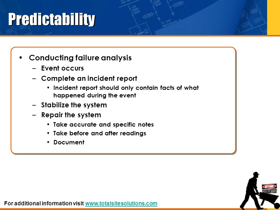 Predictability Conducting failure analysis Event occurs