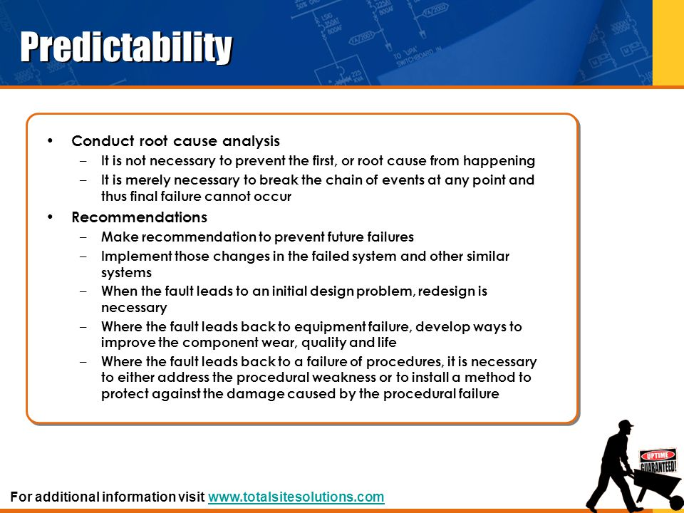 Predictability Conduct root cause analysis Recommendations