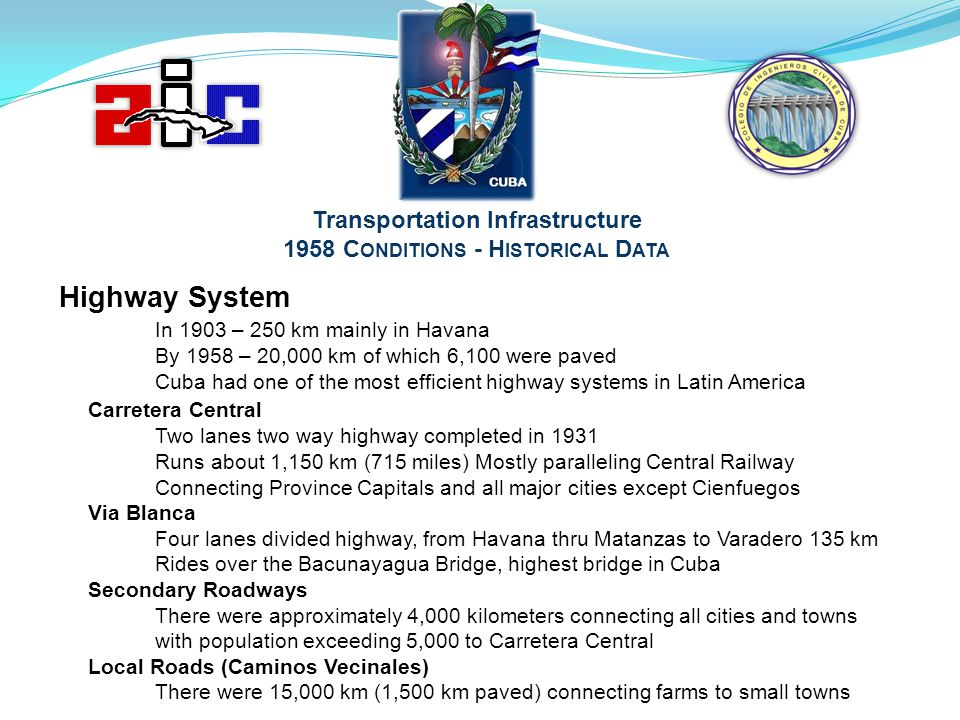 Transportation Infrastructure 1958 Conditions - Historical Data