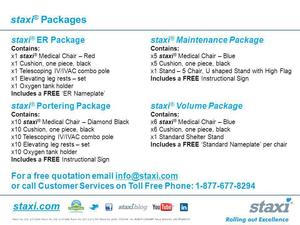 staxi® Packages staxi® ER Package staxi® Maintenance Package