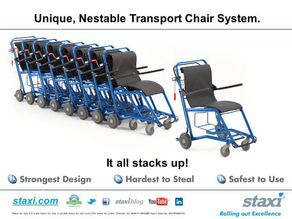 Unique, Nestable Transport Chair System.