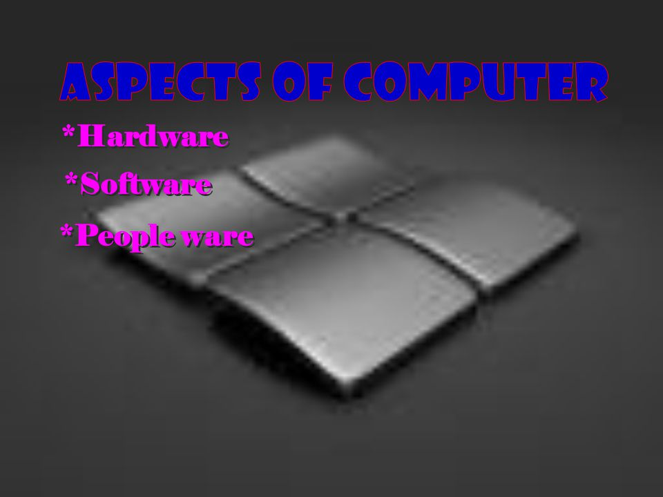 ASPECTs OF COMPUTER *Hardware *Software *People ware