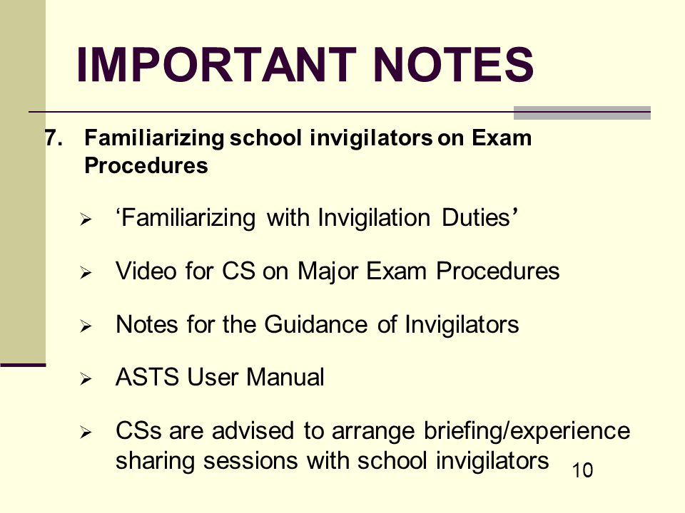 IMPORTANT NOTES 'Familiarizing with Invigilation Duties'