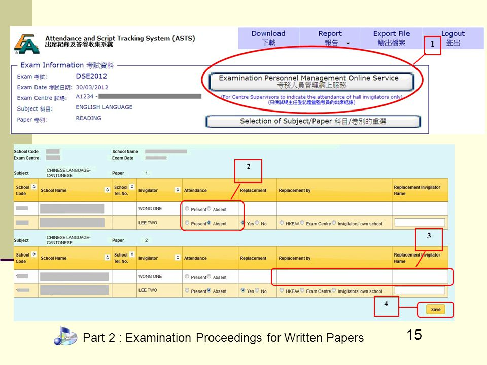 Part 2 : Examination Proceedings for Written Papers