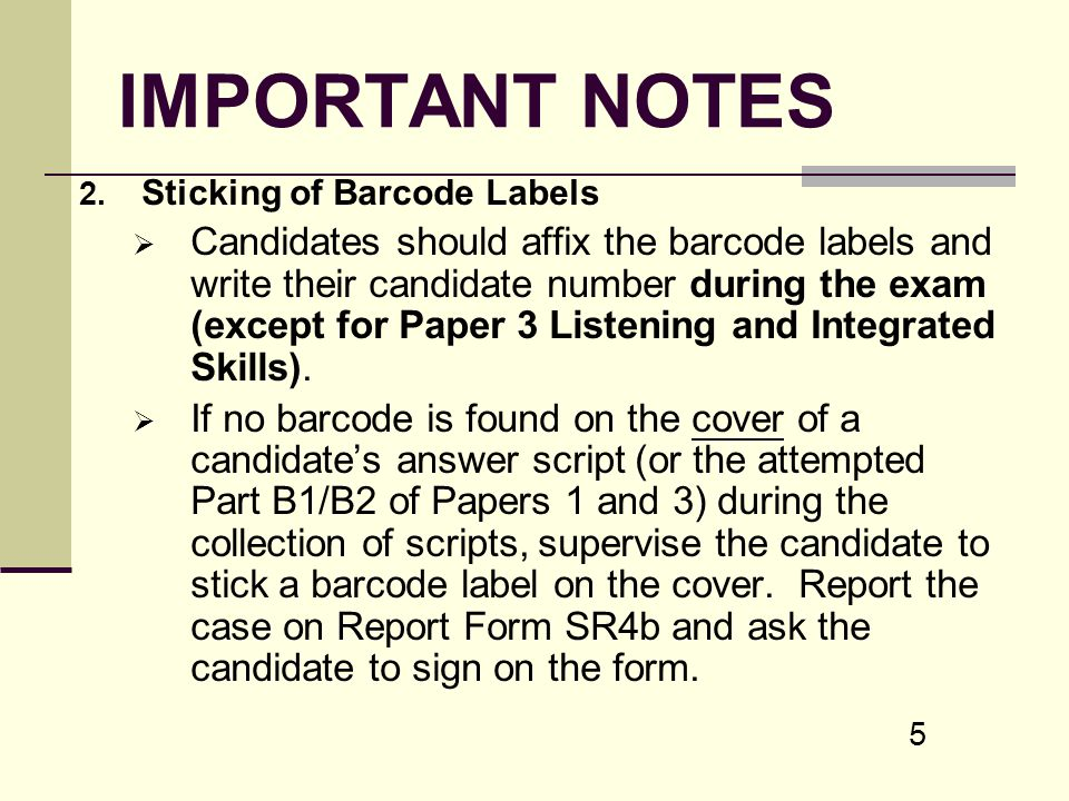 IMPORTANT NOTES Sticking of Barcode Labels.