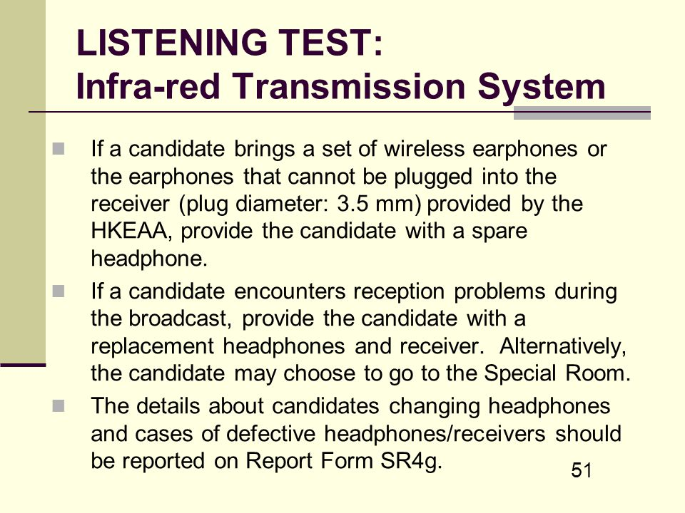 LISTENING TEST: Infra-red Transmission System