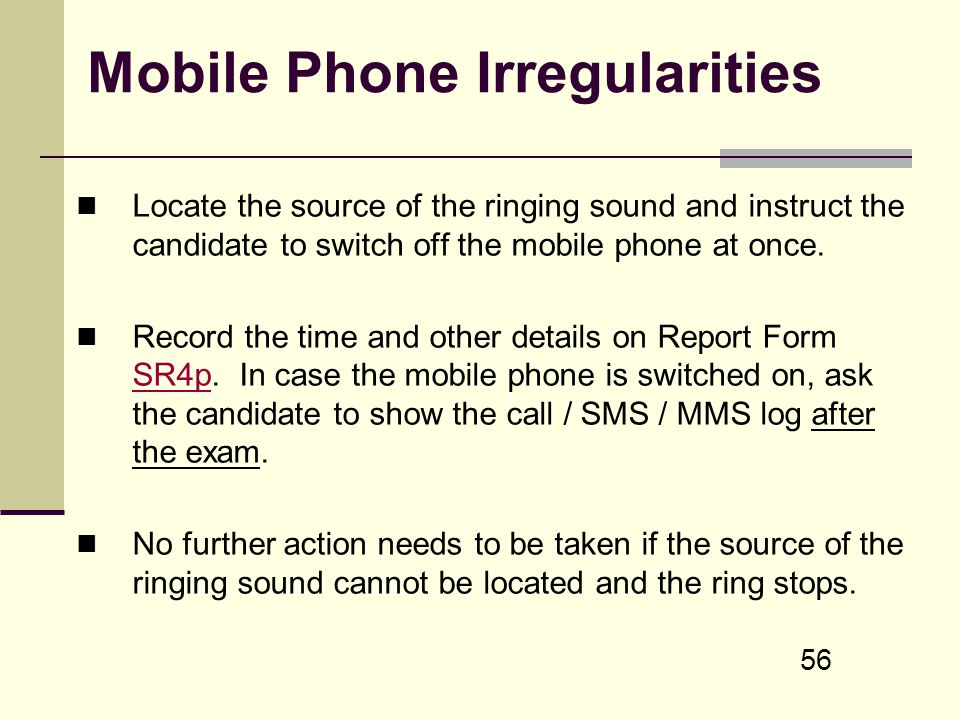 Mobile Phone Irregularities