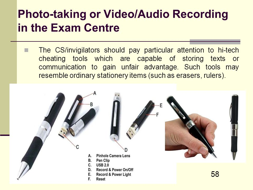 Photo-taking or Video/Audio Recording in the Exam Centre