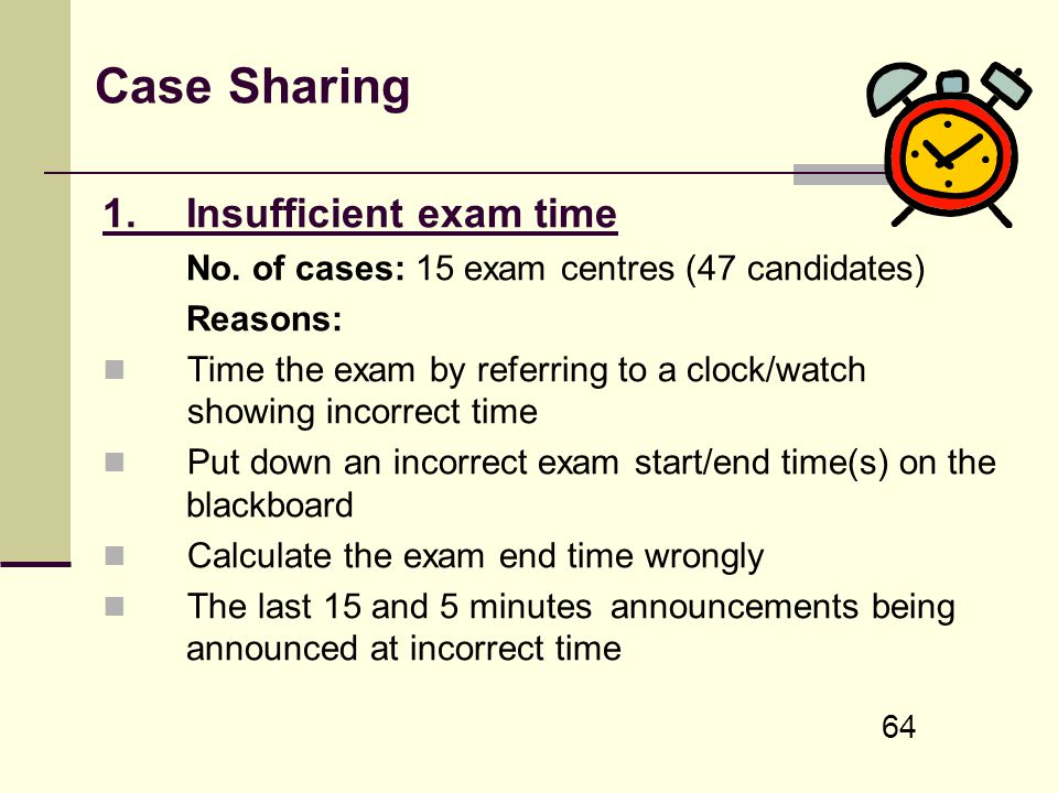 Case Sharing 1. Insufficient exam time
